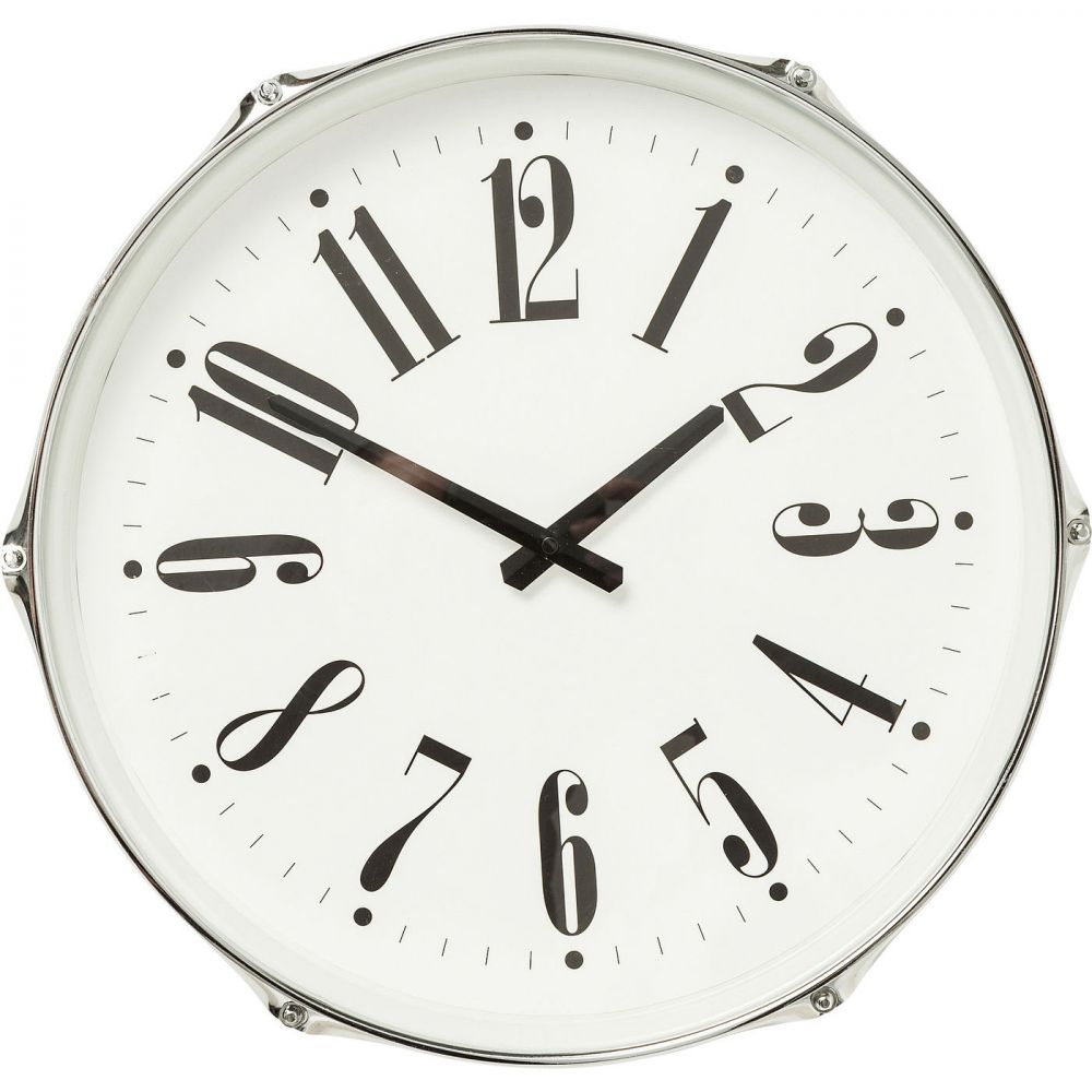 Wall Clock Drum Silver Ø45cm