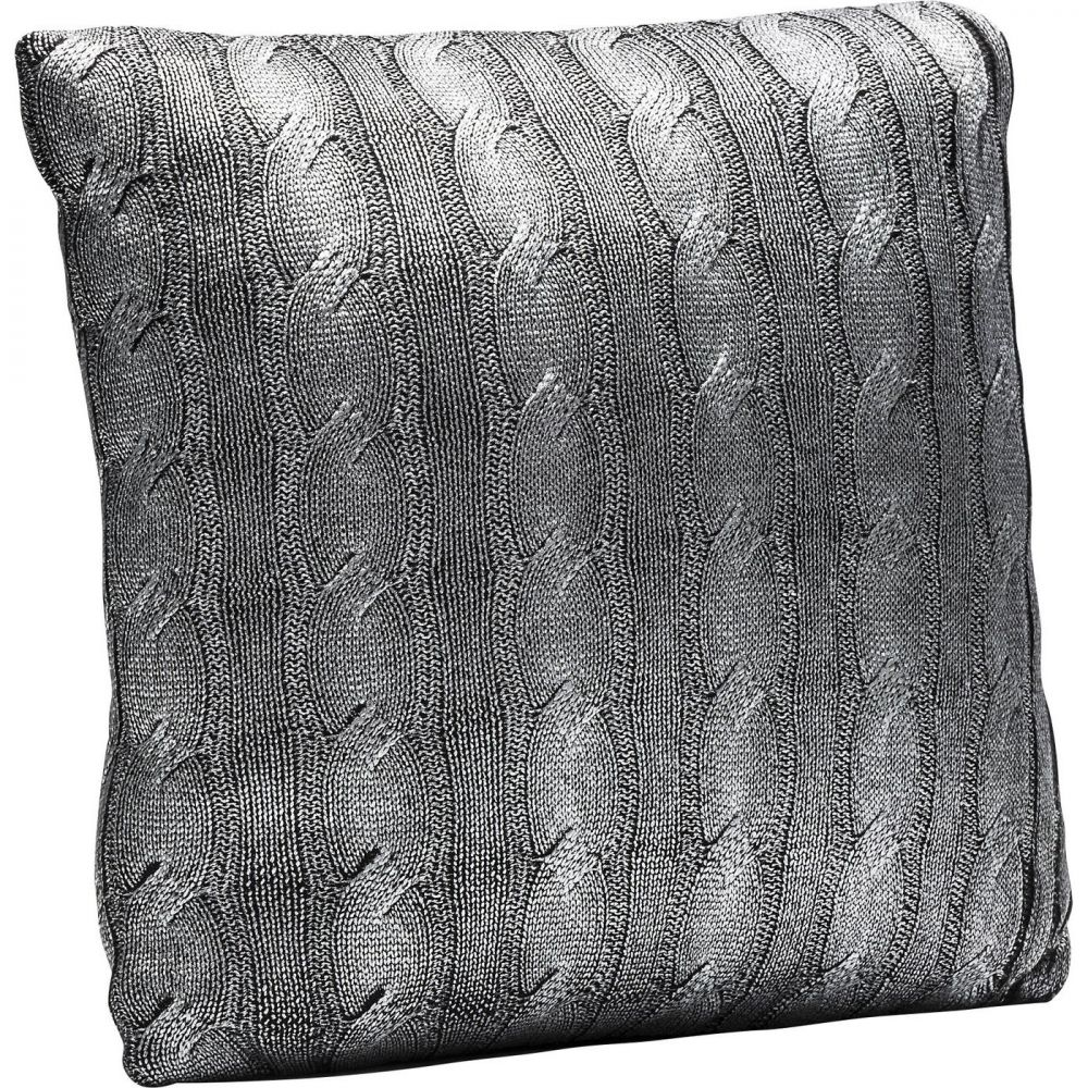 Cushion Mesh Knot Silver 40x40cm
