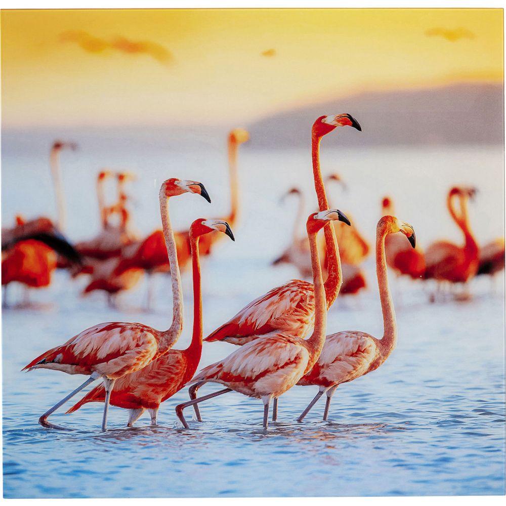 Picture Glass Flamingo Family 80X80