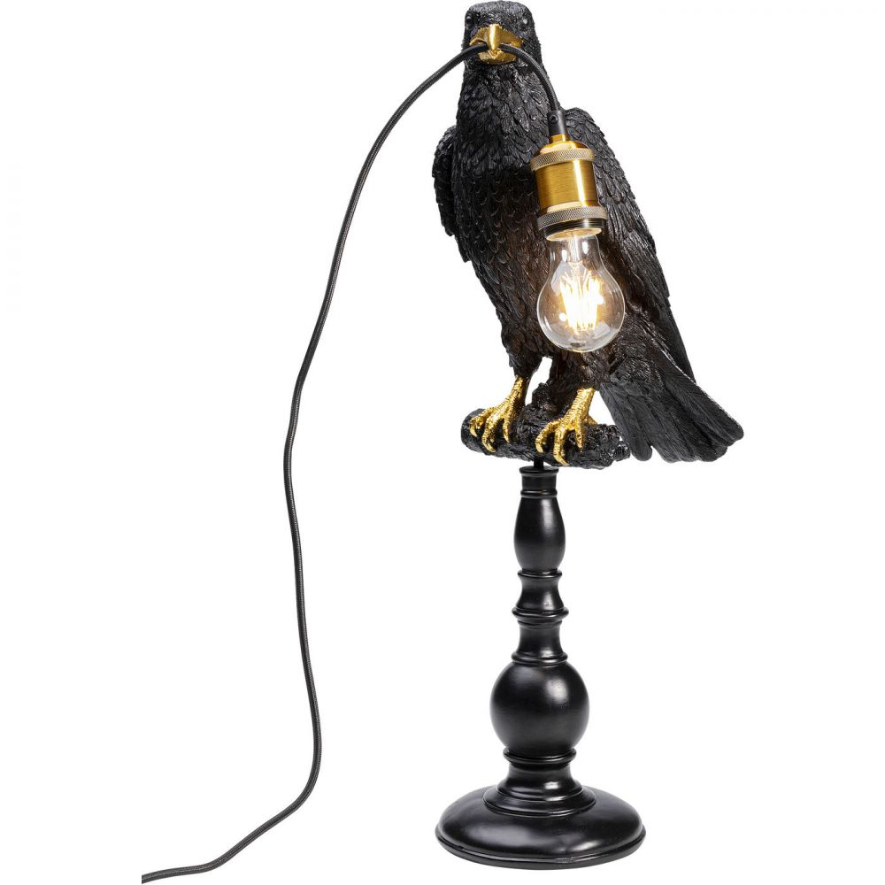 Table Lamp Sitting Crow Mat Black (Excluding Bulb)
