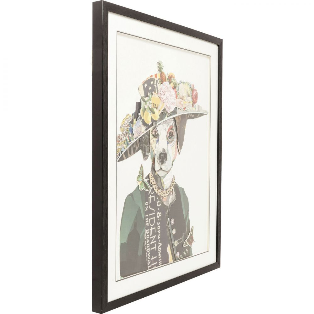 Picture Frame Art Lady Dog 90x72cm
