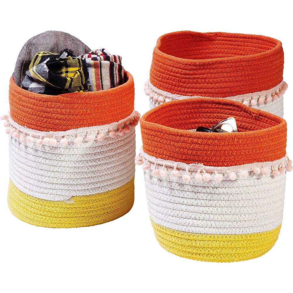 Basket Storage Fringes Orange-White (3/Set)