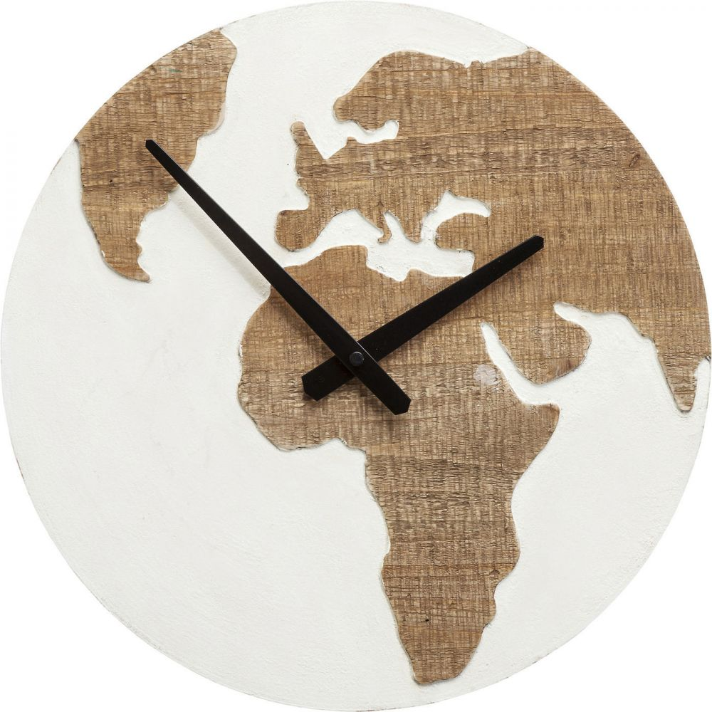 Wall Clock Antique Continent White Ø36