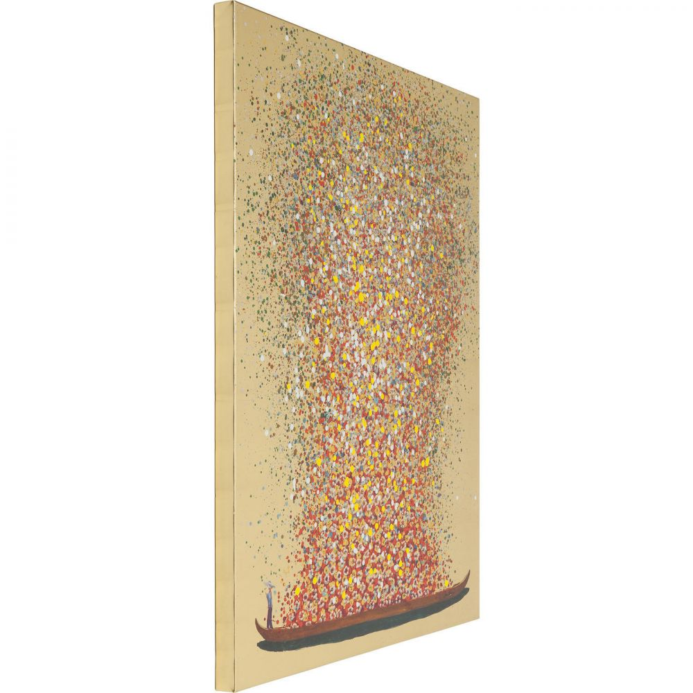Picture Touched Flower Boat Gold Red 160x120cm