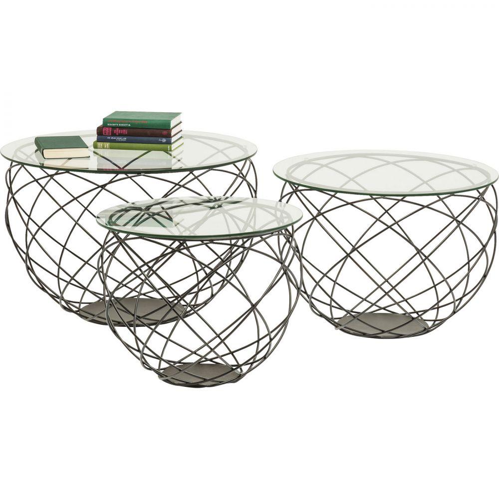 Coffee Table Wire Grid Black (3/Set)