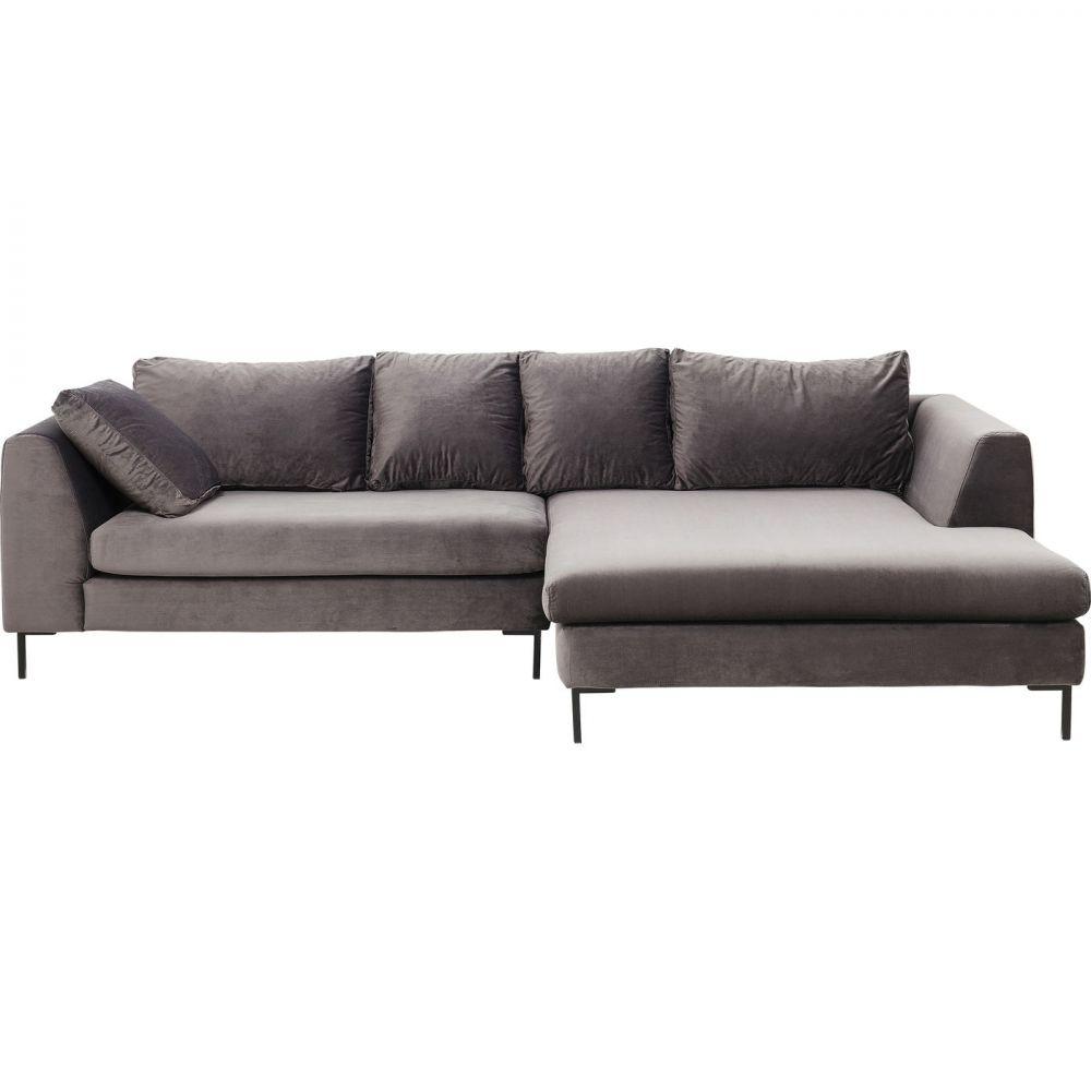 Corner Sofa Black Gianna Velvet Grey Right