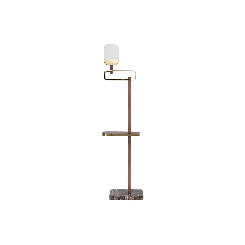 Dislocate Floorlamp Gold And Dark Walnut (Excluding Bulb)