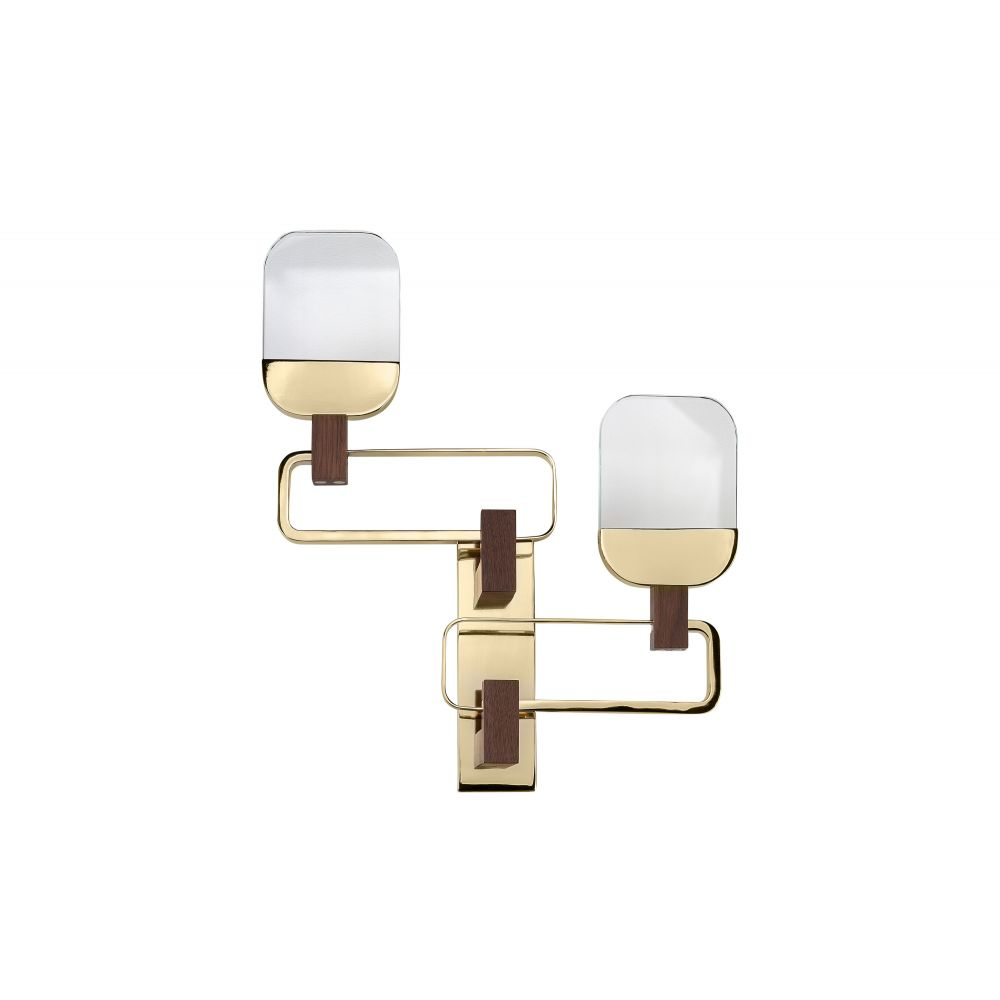 Dislocate Wall Lamp Gold And Dark Walnut (Excluding Bulb And Socket)