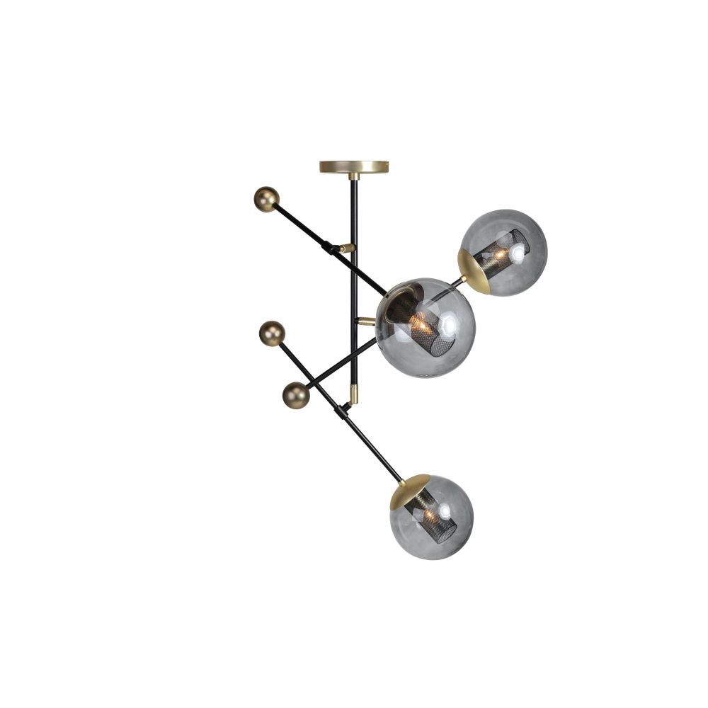 ORBIT LARGE HANGING LAMP BLACK+MATTGOLD (EXCLUDING BULB AND SOCKET)