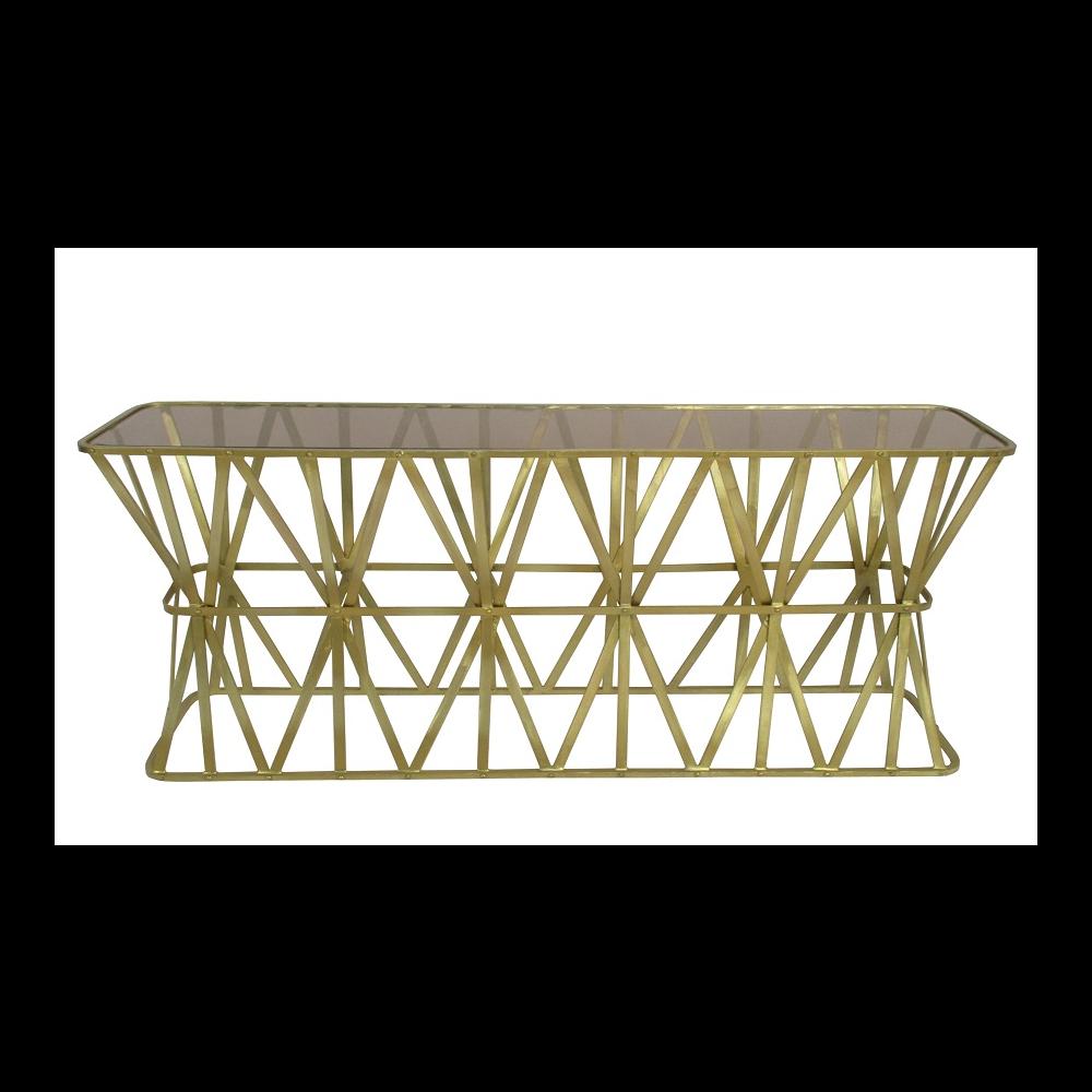 Wall Table 'Manarola' Ant.Gold+Amberglas