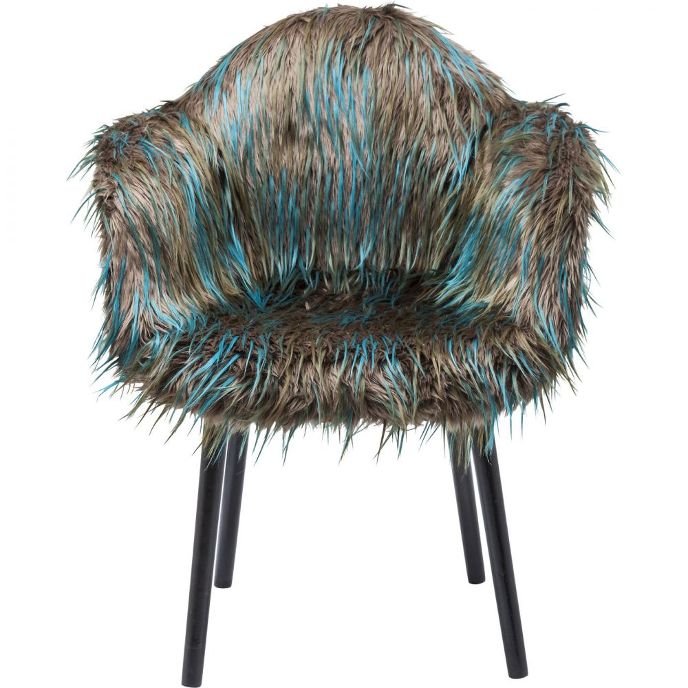 Chair with Armrest Yeti Fur Dark Green
