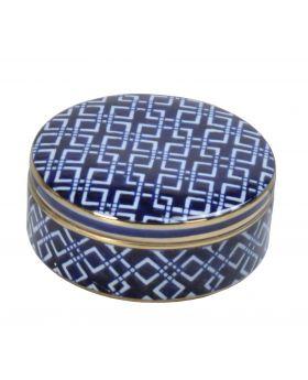 ROUND BOXE PORCELAIN WHITE/BLUE D17,5cm