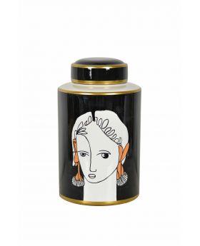 Cannister 'Goddess' Black Porcelain