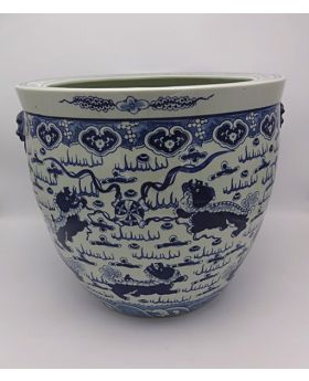 Flower Pot Porc.White/Blue 'Langham'