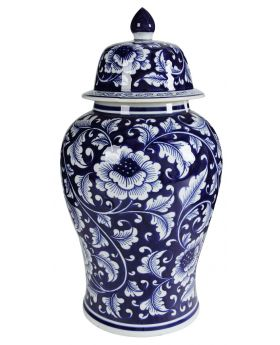 GINGER JAR PORCELAIN WHITE/BLUE D24x45h
