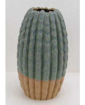 Green Petrol Ceramic Vase Cactus H54