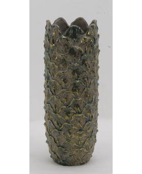 Green/Gold Ceramic Vase 'Scale'