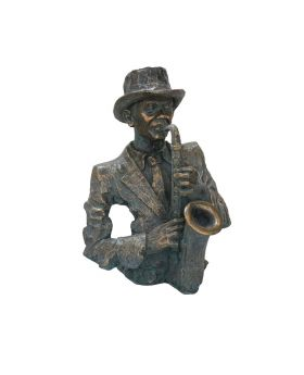 Saxophonist Bust In Ant.Bronze Resin