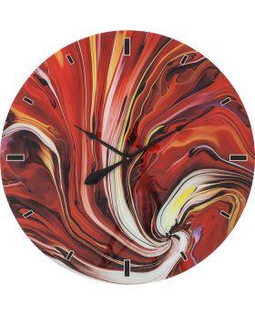 Wall Clock Glass Chaos Fire DIA80Cmred