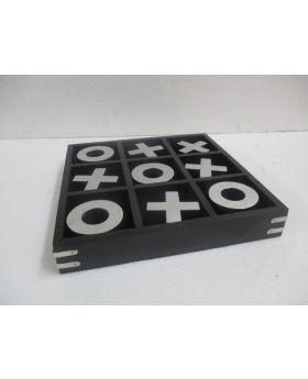 Wooden Black Tic Tac Toe Game 25X25X4H
