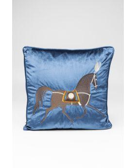 CUSHION CLASSY HORSE BLUE 45X45CM
