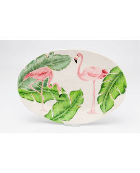 PLATE FLAMINGO HOLIDAYS OVAL 40CM