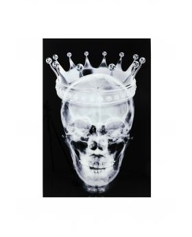 PICTURE GLASS CROWN SKULL 120X80CM,BLACK