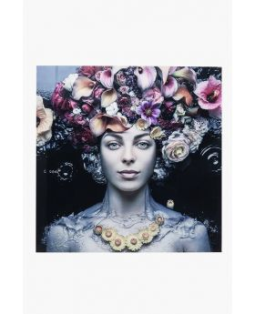 PICTURE GLASS FLOWER ART LADY 80X80CM