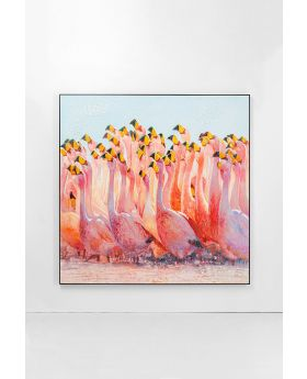 ACRYLICPAINTING FRAME SWARM OF FLAMINGOS