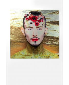 PICTURE GLAS METALLIC FLOWER MAN YELLOW