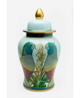 DECO JAR PARROT COUPLE 48CM