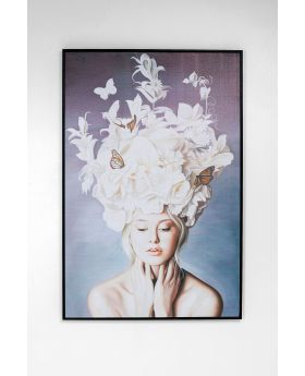 PICTURE FRAME ART LADY WHITE FLOWERS
