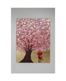 PICTURE TOUCHED FLOWER COUPLE GOLD PINK