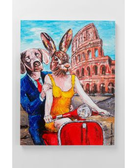 Picture Touched Animal Pair Rome 80X60Cm