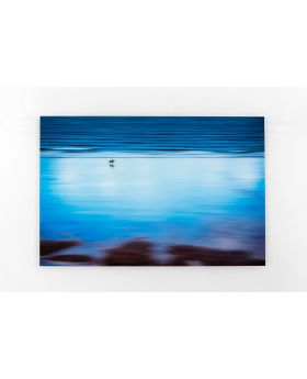 PICTURE GLASS LONELY BEACH 80X120CM,BLUE