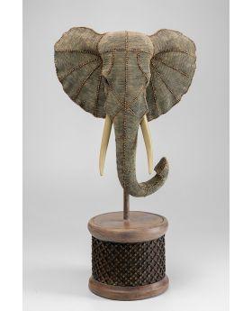 Deco Object Elephant Head Pearls Green