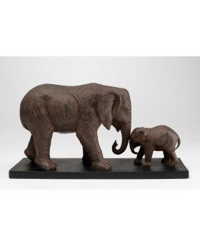 DECO OBJECT  ELEPHANT FAMILY,BROWN