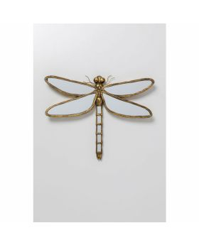 WALL DECO DRAGONFLY MIRROR 71CM GOLDEN
