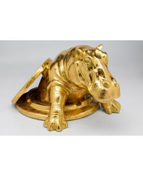 Deco Object Struggling Rhino Gold,Golden