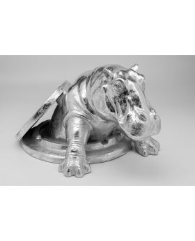 Deco Object Struggling Rhino Silver