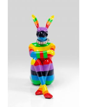 DECO OBJECT SITTING RABBIT RAINBOW