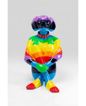 DECO OBJECT SITTING DOG RAINBOW MULTICOL