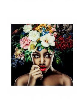 Pictureglass Pretty Flower Woman 100X100