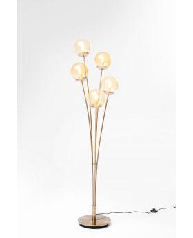 Floor Lamp Five Balls Amber Brass (Excluding Bulb)