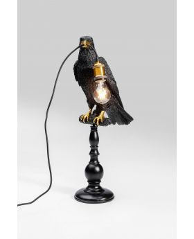 Table Lamp Sitting Crow Mat Black
