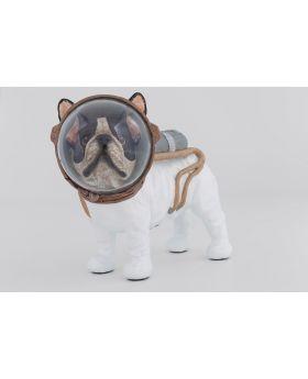 Deco Figurine Space Dog 21Cm White