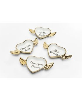 DECOBOWL FLYING HEART ASSORTEDGOLD/WHITE