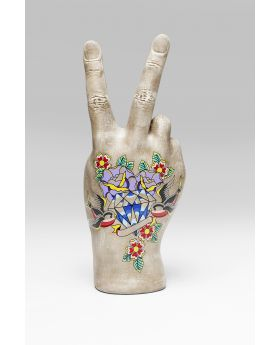 DECO HAND VICTORY TATTOO FLOWERS 36CM
