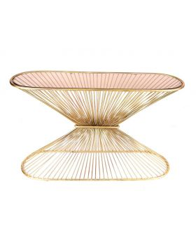 Wall Table 'Altura' Ant.Gold+Amber Glass