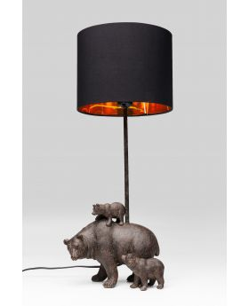 Table Lamp Bear Family Black (Excluding Bulb)